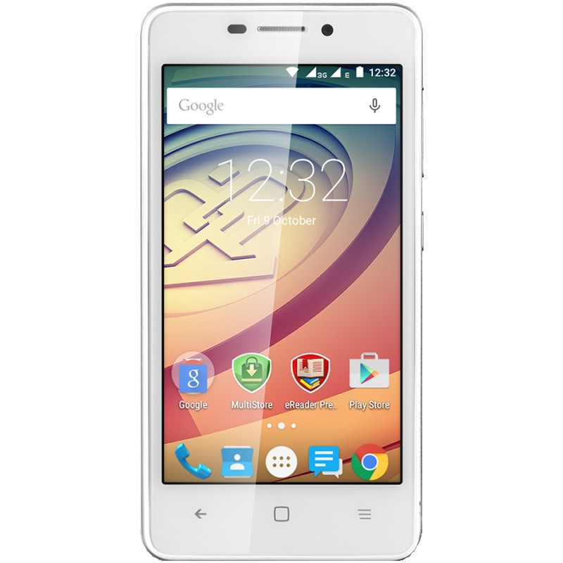 Prestigio Wize F3 4.5 FWVGA 480*854 TN display; Quad core 1.2GHz; 512MB+4GB; 2MP+5MP camera; 1850mAh battery; Android 5.1