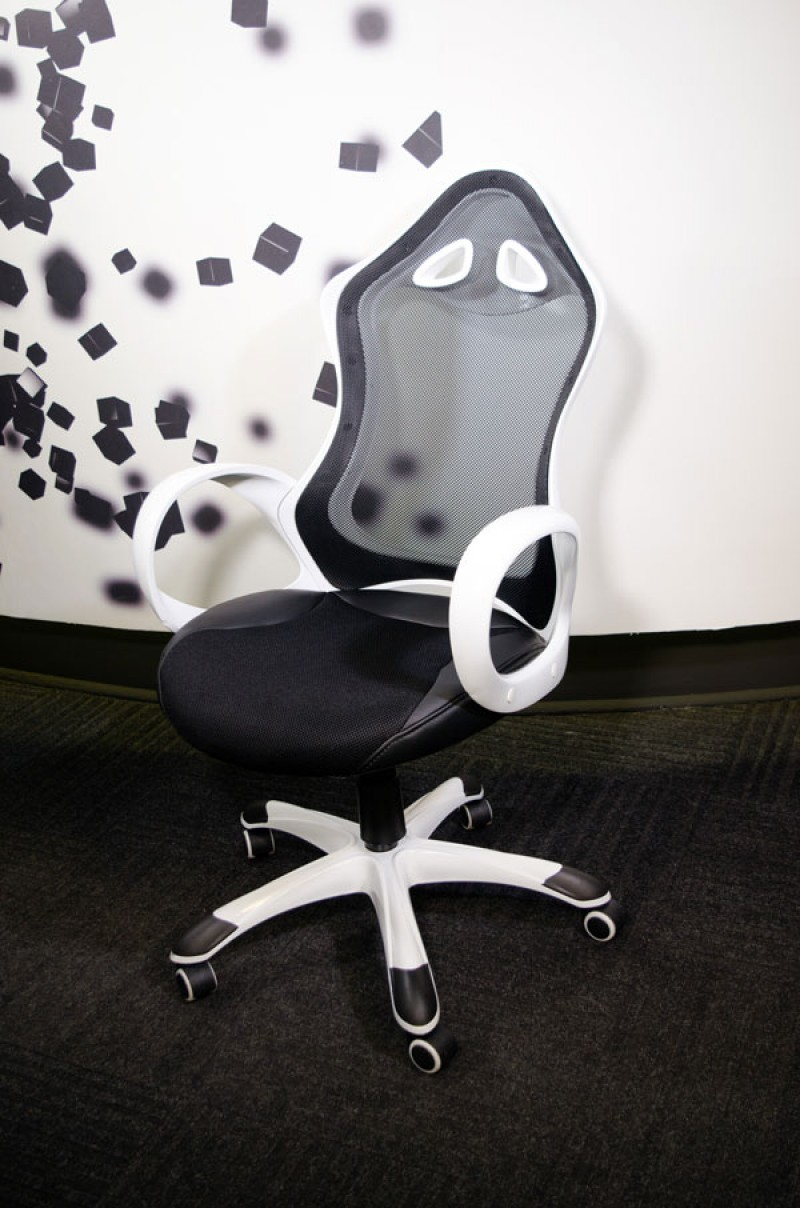 Office Chair Executive DS-026 Black/White (Mesh,PU)
