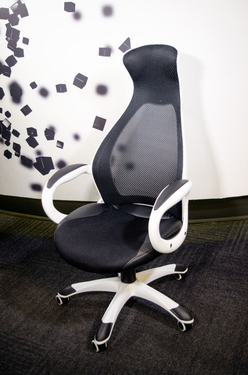 Office Chair Executive DS-019 Black/White (Mesh,PU)