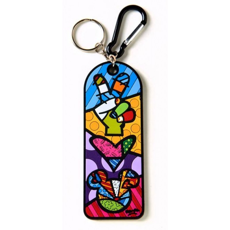 Romero Britto Peace & Love Mickey Mouse Keychain