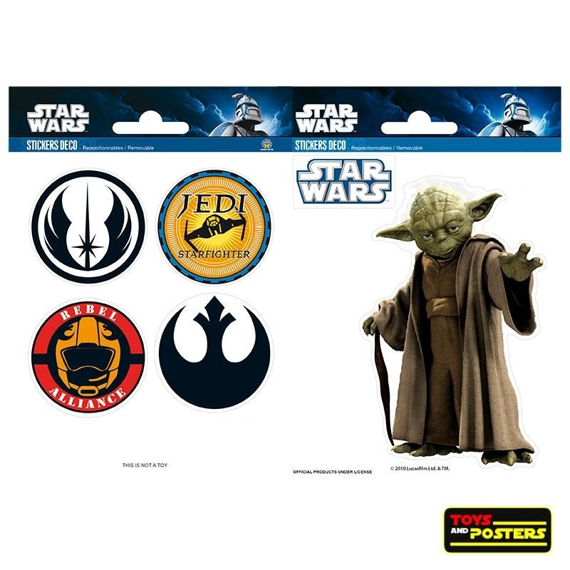 STAR WARS - Stickers - 16x11cm - Yoda/Symboles