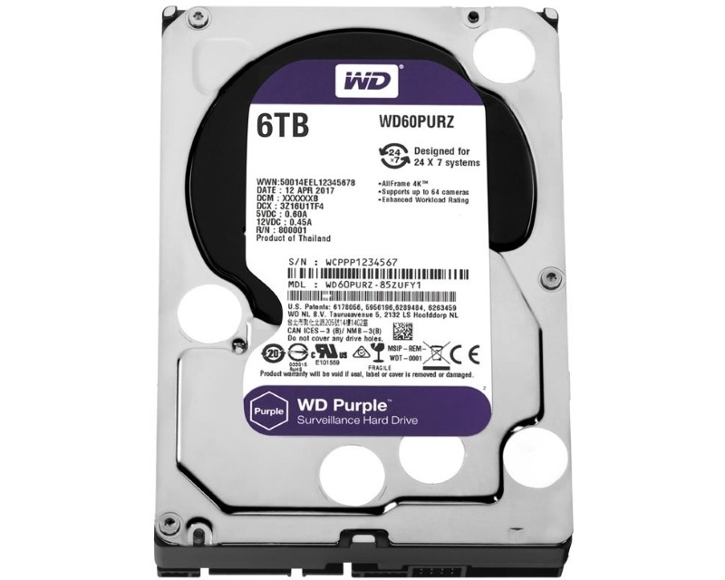 WD 6TB 3.5 SATA III 64MB IntelliPower WD60PURZ Purple