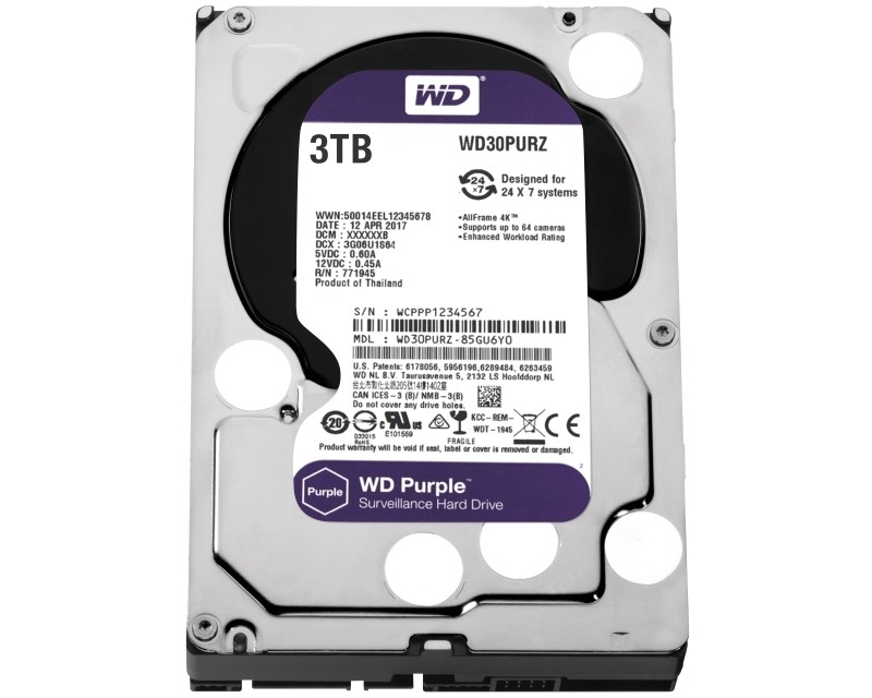 WD 3TB 3.5 SATA III 64MB IntelliPower WD30PURZ Purple