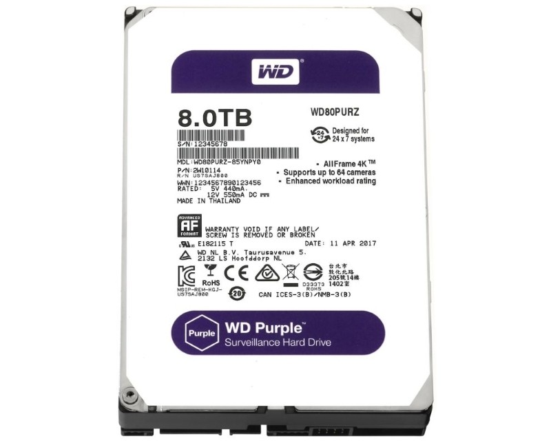 WD 8TB 3.5 SATA III 128MB IntelliPower WD80PURZ Purple