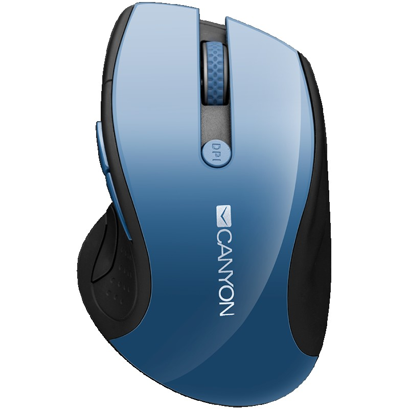 CANYON 2.4Ghz wireless mouse, optical tracking - blue LED, 6 buttons, DPI 100012001600, Blue Gray pearl glossy
