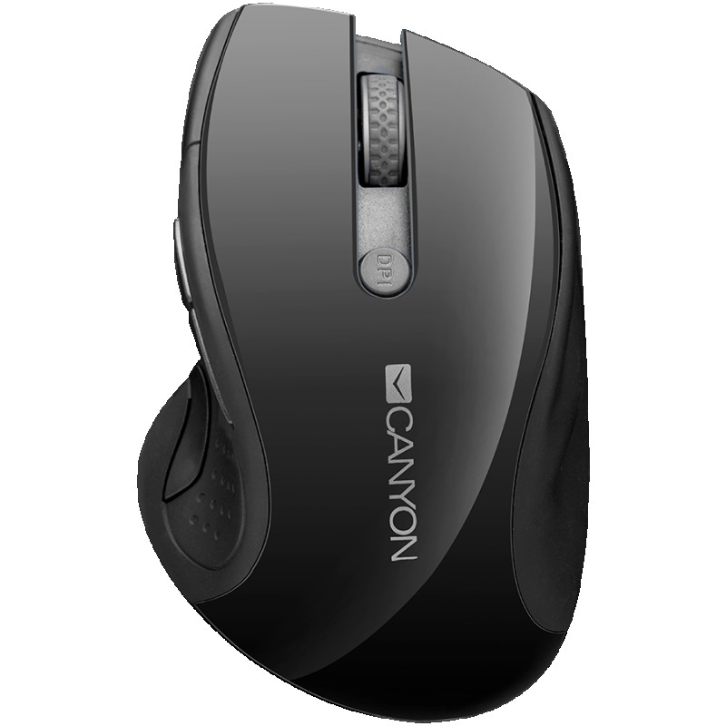 CANYON 2.4Ghz wireless mouse, optical tracking - blue LED, 6 buttons, DPI 100012001600, Black pearl glossy