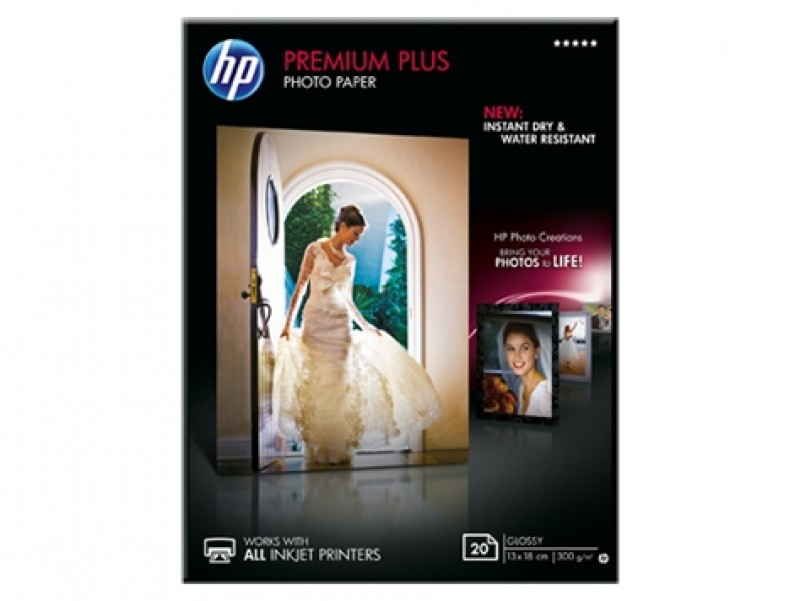 HP Premium Plus Glossy Photo Paper-20 sht/13 x 18 cm (CR676A)