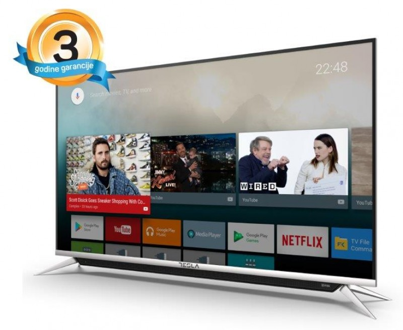 Tesla TV 43S901SUS, 43 TV LED, slim DLED, DVB-T2CS, Ultra HD, powered by Android TV, WiFi