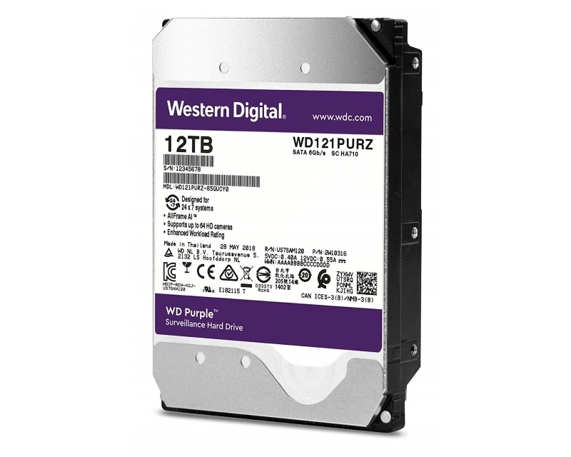 HDD AV WD Purple (3.5, 12TB, 256MB, 7200 RPM, SATA 6 Gb s) ( WD121PURZ )