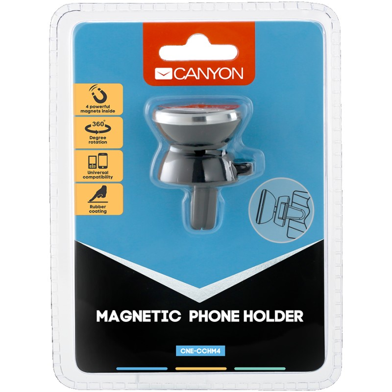 Canyon Car Holder for Smartphones,magnetic suction function ,with 2 plates(rectangle circle), black ,40*35*50mm 0.033kg ( CNE-CCHM4 )