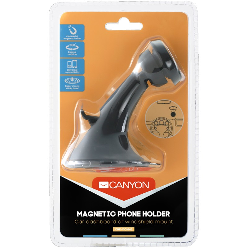 Canyon Car Holder for Smartphones,magnetic suction function ,with 2 plates(rectangle circle), black ,97*67.5*107mm 0.068kg ( CNE-CCHM6 )