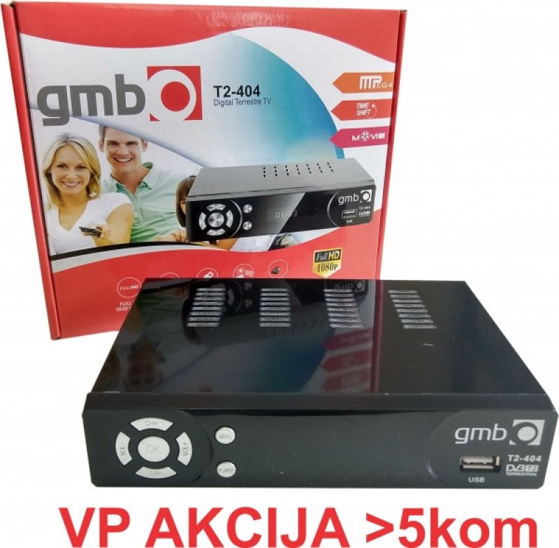 GMB-T2-404 DVB-T2 SET TOP BOX USB/HDMI/Scart/RF-out, PVR, Full HD, H264, hdmi-kabl, modulator
