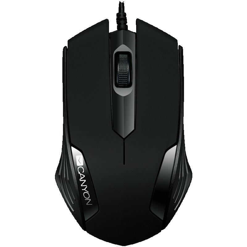 CANYON wired optical Mouse with 3 buttons, DPI 1000, Black,  cable length 1.25m, 120*70*35mm, 0.07kg ( CNE-CMS02B )
