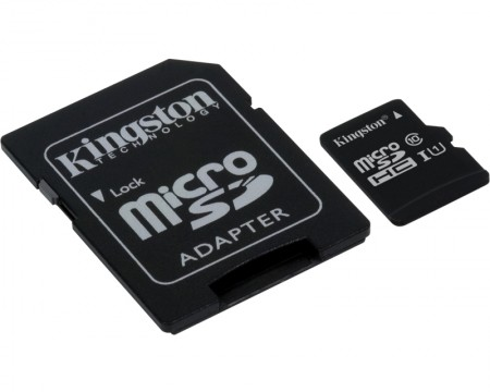 KINGSTON UHS-I MicroSDHC 16GB class 10 + adapter SDC10G216GB