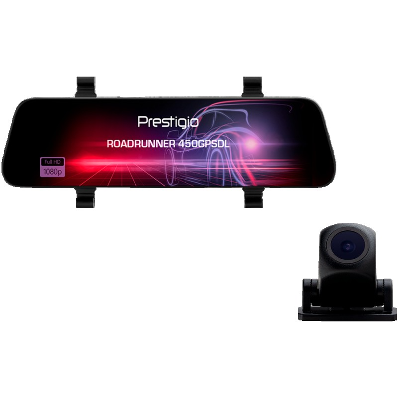 Prestigio RoadRunner 450GPSDL, 9.66 IPS (1280x320) 2.5D curved touch display, Dual camera: front - FHD 1920x1080@30fps, HD 1280x720@30fps,