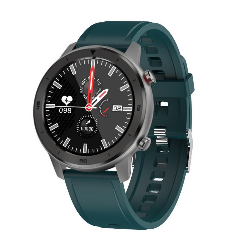 MOYE Smart Watch DT78 Turquoise Silicone Strap - Silver Watch