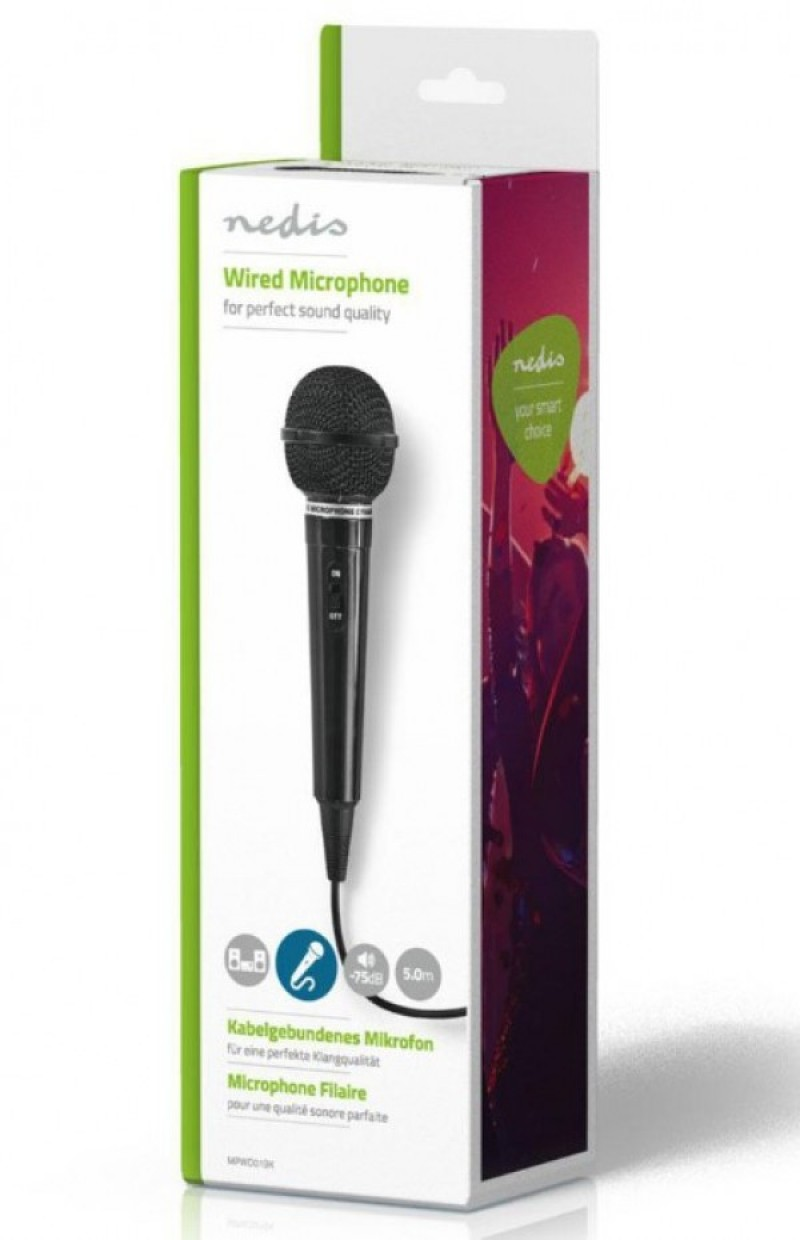 MPWD01BK Karaoke mikrofon, 6.35mm -75dB Sensitivity, 80Hz-12kHz +/-3dB, 5.0m