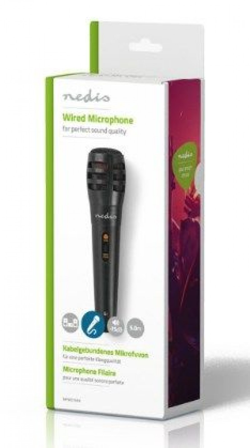 MPWD15BK Karaoke mikrofon, 6.35mm -75 dB+/-3dB Sensitivity, 80 Hz-12 kHz, 5.0m