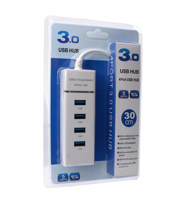 HUB USB 3.0 4-PORT JWD-U36 WHITE