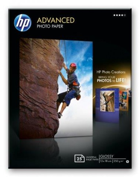 HP Advanced Glossy Photo Paper 250 g/m2-13 x 18 cm borderless/25 str.[Q8696A] (Q8696A)