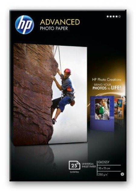 HP Advanced Glossy Photo Paper,250 g/m2,25 sht/10 x 15 cm borderless [Q8691A] (Q8691A)