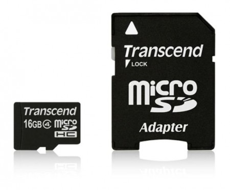 MICRO SD 16GB TRANSCEND + SD adapter TS16GUSDHC4